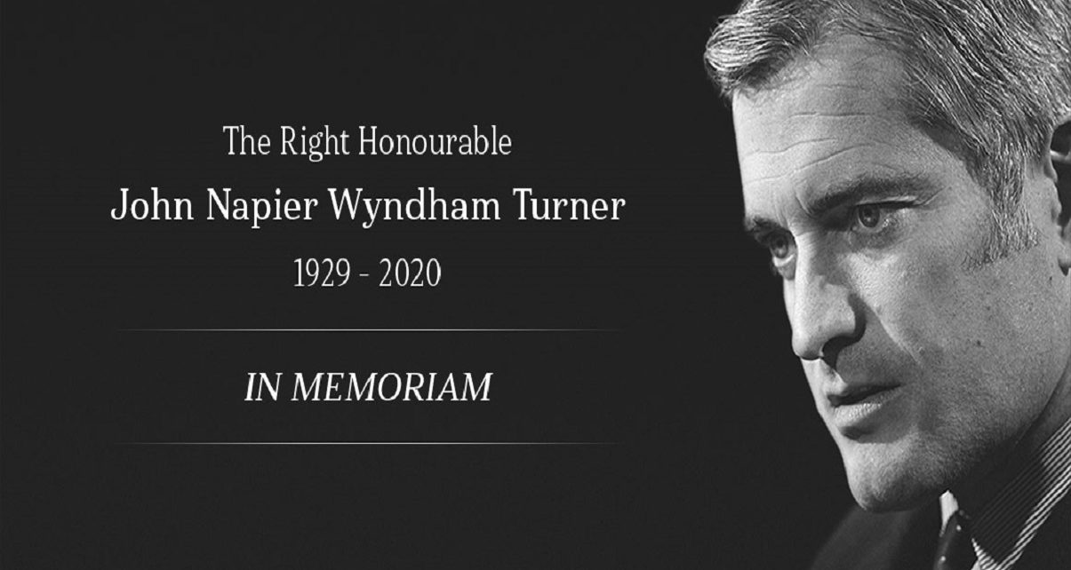 Right Honourable John Napier Wyndham Turner Funeral date set for October 6, 2020