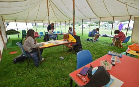 Did New Jersey solve the social distance learning problem using tents?